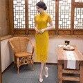 Xangai História vestidos vestido estilo chinês tendência nacional de Manga Curta rendas cheongsam Longo Qipao vestidos tradicionais chineses