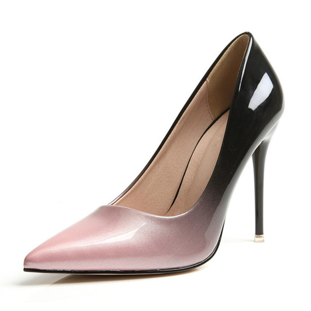 Plus size 34-42 Women pumps Fashion gradient color High heels shoes Spring Summer patent leather wedding shoes woman high heels