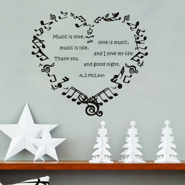 Music Is Love Love Is Music Wall Stickers Music Notes Heart Diy High  Quality Removable Home
