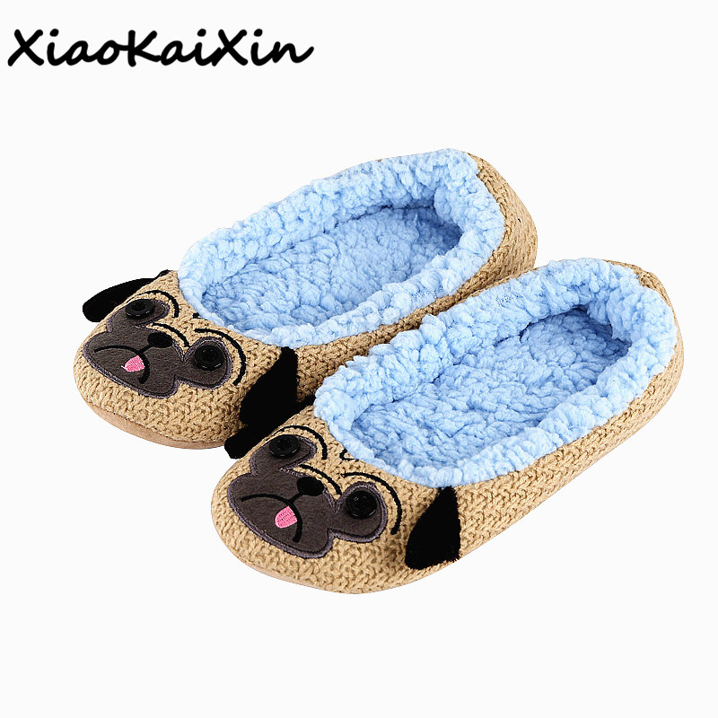 Ladies Indoor Floor Plush Slippers Home Cotton Animals Pugs/Squirrel/Panda/owl/Mouse Embroider Yoga Dance Shoes Soft Soles Shoes tolaitoe autumn winter animals fox household slippers soft soles floor with indoor slippers plush home slippers