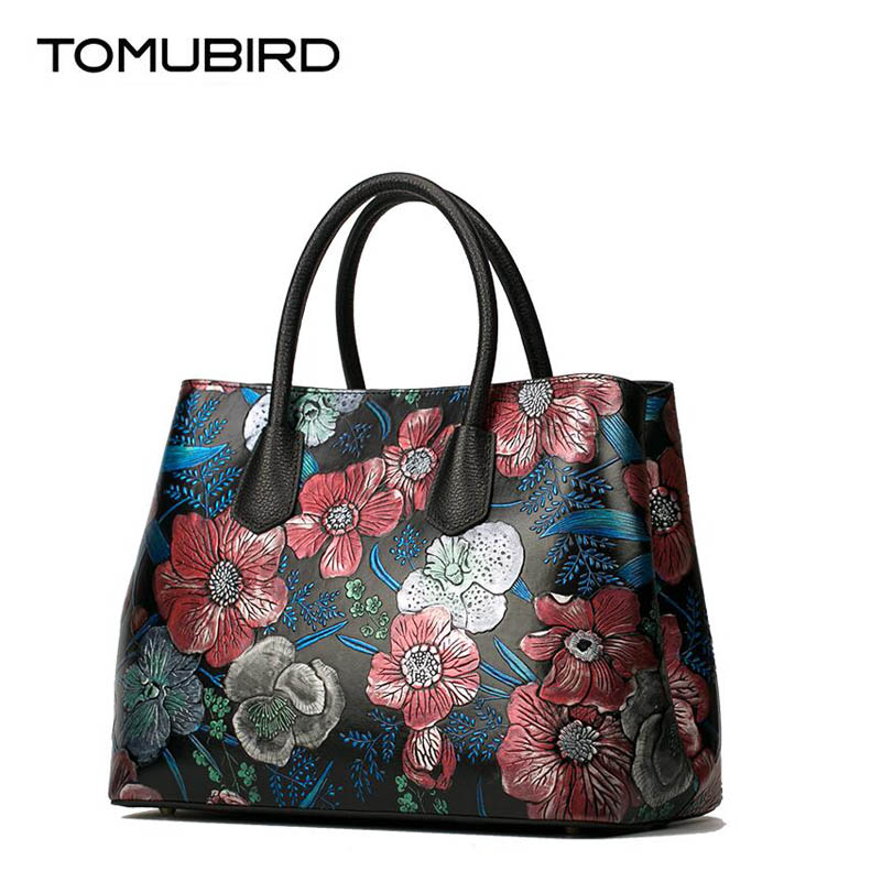TOMUBIRD new superior cowhide leather Embossed rose genuine leather Luxury fashion women Leather Handbags Tote leather tomubird new superior cowhide leather embossing flower brand women tote fashion luxury women genuine leather handbags
