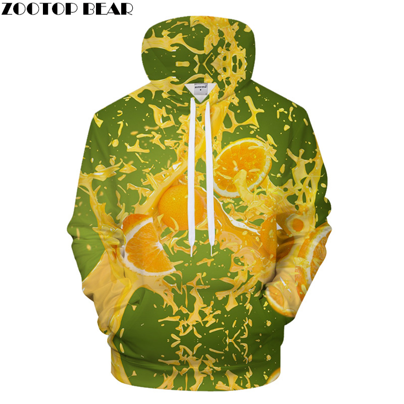 Juice Print Hoodies Men Hoody 3D Fruit hoodie Streatwear Sweatshirt Harajuku Tracksuit Pullover Coat Fresh Drop ship ZOOTOP BEAR