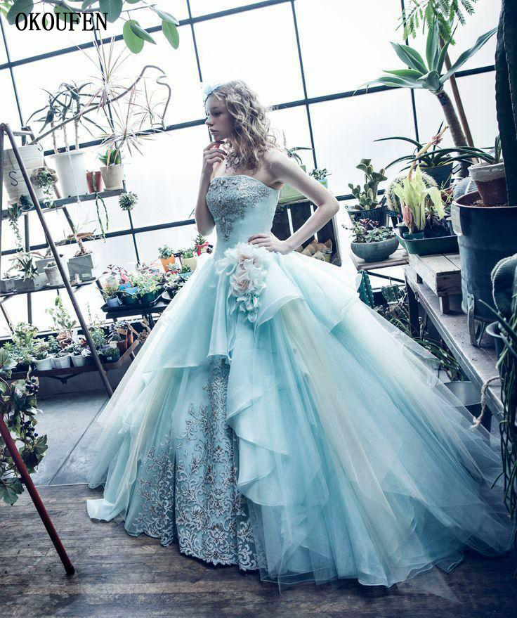 Ball Gown Quinceanera Dresses 2019 Sweet 16 Dresses Debutante Appliques Light Blue Strapless Vestido De 15 Anos Robe De Bal Doce