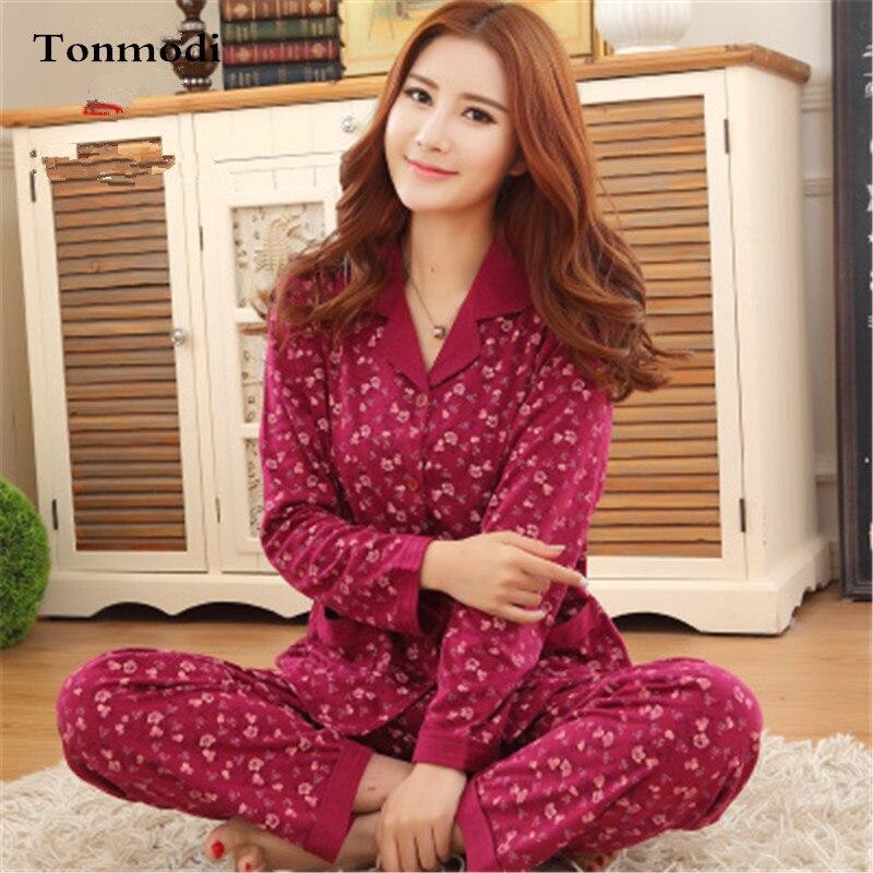 Pijamas de las mujeres primavera Otoño de algodón de manga larga dormir  pijamas salón Conjuntos de pijama homewear para las mujeres 7c34e8d868c9