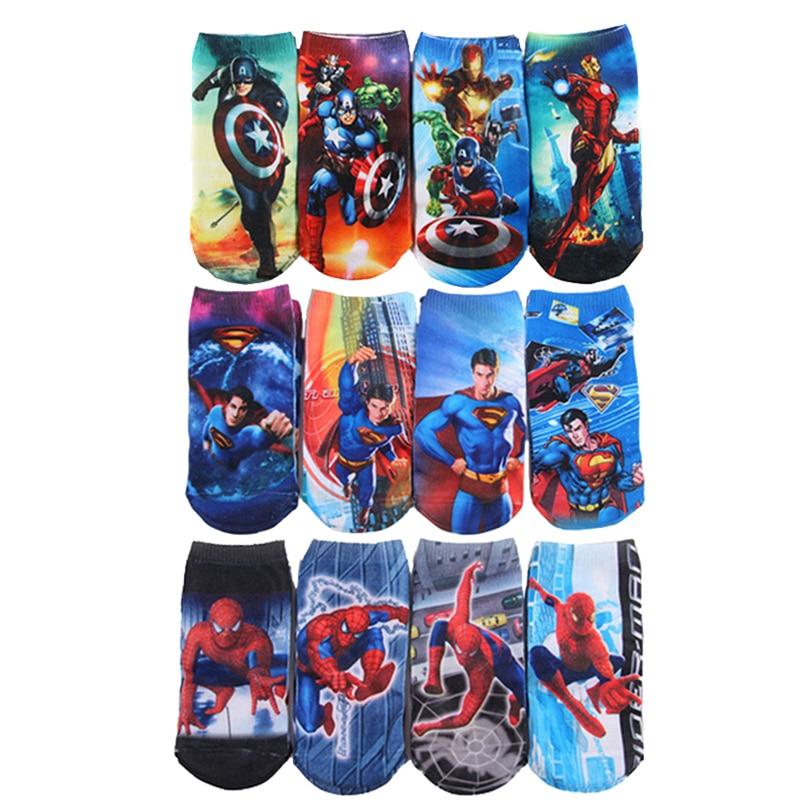 Super Hero Cartoon Kids Socks Boys Marvel Socks 2-8year Child Superman SpiderMan Socks Men Captain America Cartoon Boat Socks