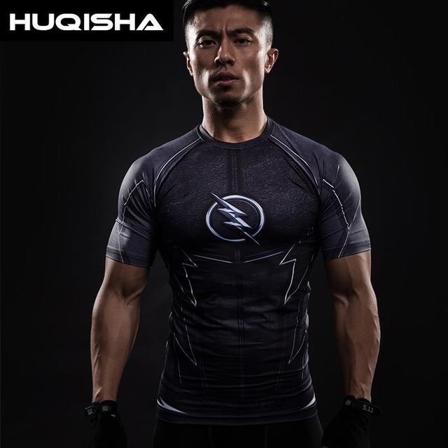 3D Impresso Camisetas Homens Camisa De Compressão de Manga Curta Raglan  Flash Traje Cosplay Crossfit Tops cac2184c97169