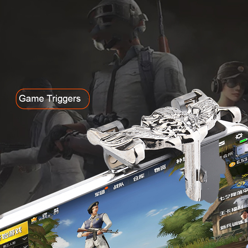 Metal Wolf Triggers For Cell Phone PUBG Mobile Gamepad Dzhostik Free Fire Key L1R1 Gaming Trigger Pubg Smart Shooter Controller