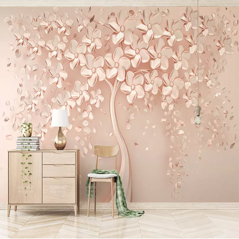 Custom Any Size Wall Cloth Elegant Luxury Rose Gold Flower Tree Photo Wallpapers Living Room Sofa Wall Home Decor 3D Large Mural