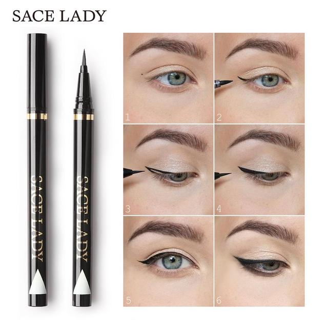SACE LADY Liquid Eyeliner Waterproof Makeup Black Eye Liner Pencil Long Lasting Make Up Smudge-proof Pen Natural Brand Cosmetic 1