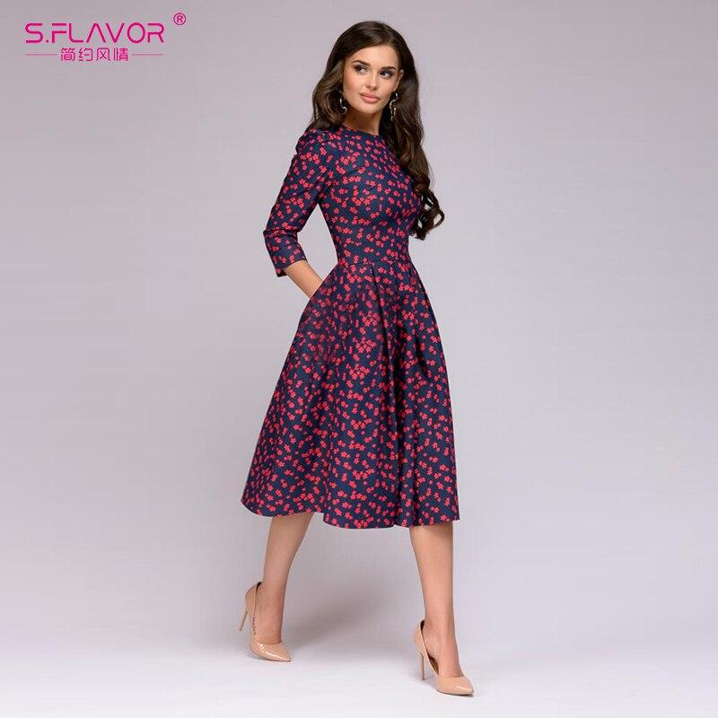 af96a149cd7b61 S.FLAVOR Women Elegant A-line Dress 2019 Vintage printing party vestidos  Three Quarter Sleeve women Slim Summer Dress ~ Top Deal June 2019