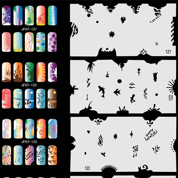 320 Design 20 Sheets Airbrush Stencils Nail Art Air Brush Mold Too Set No.7  цены