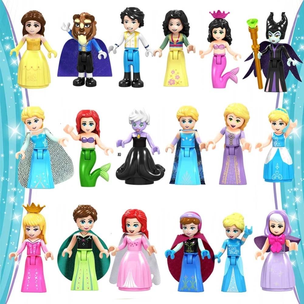 Fairy Tale Princess City Series Cinderella White Snow Doll Anna Playmobil Building Blocks Friends Toys Bricks For Children Girls