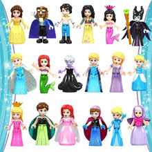 Fairy Tale Princess city Series Cinderella White Snow Doll Anna Playmobil Building Blocks Friends Toys Bricks for Children Girls(China)