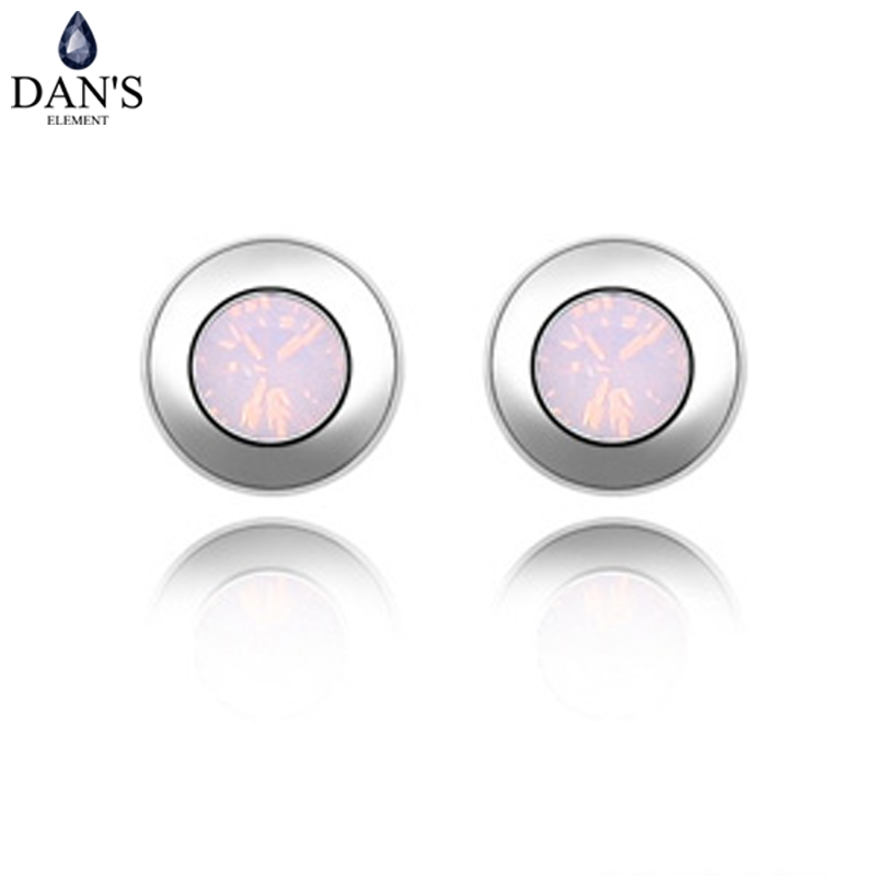 DANS 11 Colors Real Austrian Crystals Brand Stud earrings for women Fashion New Sale Hot 82340Roseopal