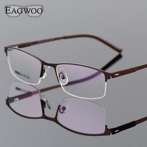 Image 3 - إيجو إطار نظارات للأعمال بنصف حافة نظارات بصرية للرجال نظارات بإطار ذهبي نظارات لقراءة قصر النظر ومعبد الربيع 2299