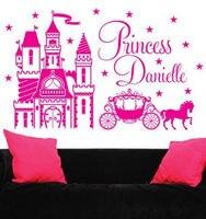 Personalized Custom Name Castillo de La Princesa Carriage Pony Vinilo Etiqueta de La Pared 89X55 CM