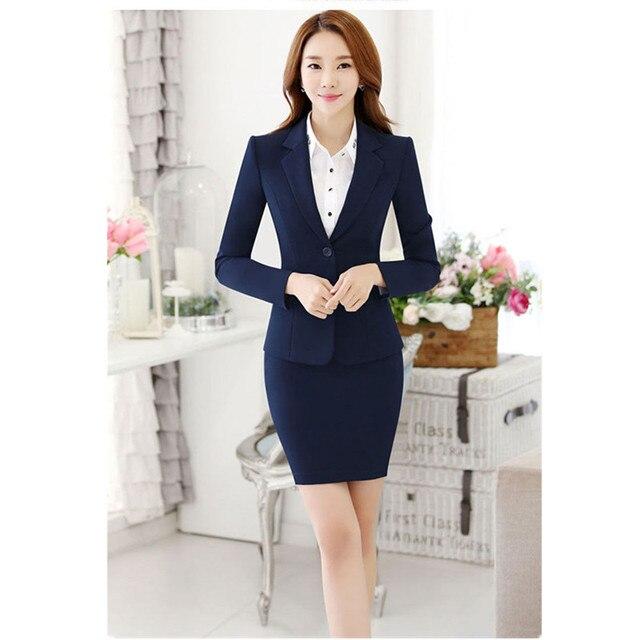 b6307715c Mujeres Trajes con falda Negro Azul Marino elegante Oficina señora falda  chaqueta formal traje mujeres traje