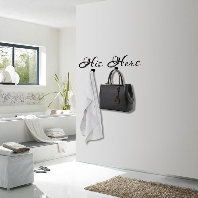His Hers Wall Decor 3D Towel Hooks Wall Stickers Bedroom Removable Adhesive  Hook Entrance Decorative Wall