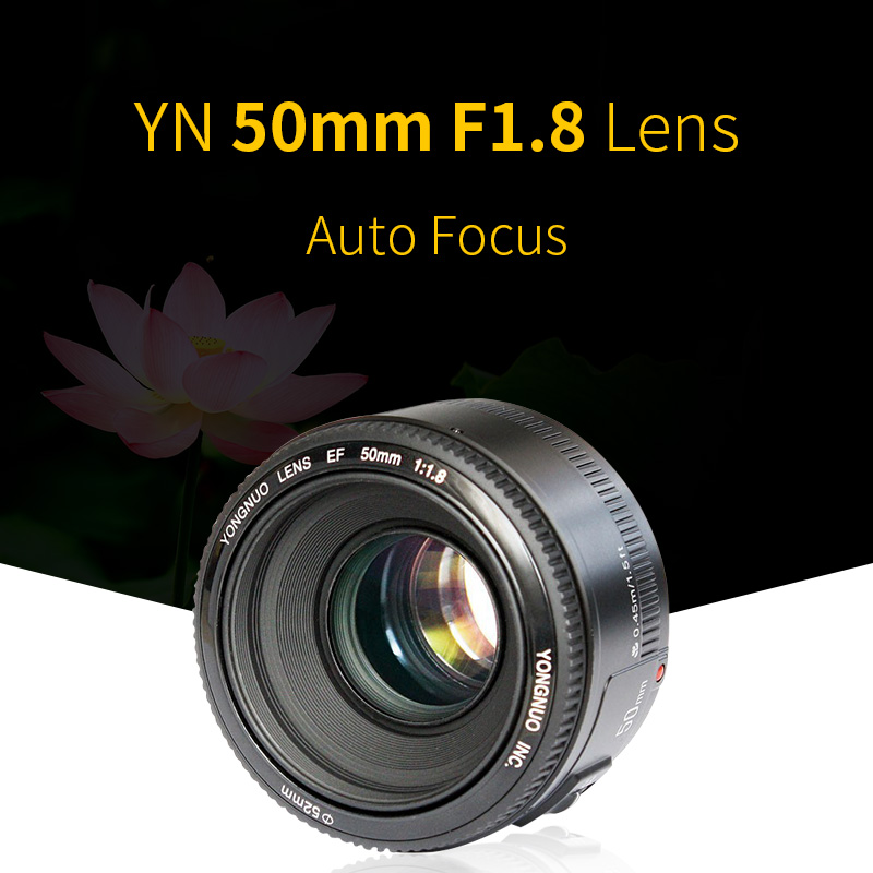 YONGNUO YN 50mm F1.8 Lens AF/MF Large Aperture Auto Focus Lens for Canon EOS 60D 70D 5D2 5D3 7D2 750D 650D 6D DSLR Cameras yongnuo yn 50mm lens fixed focus lens ef 50mm f 1 8 af mf lense large aperture auto focus lens for canon dslr camera pouch bag