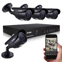 ZOSI 8CH Security System 900TVL 960H Surveillance CCTV Full 960H HDMI DVR 4CH With 4PCS CMOS