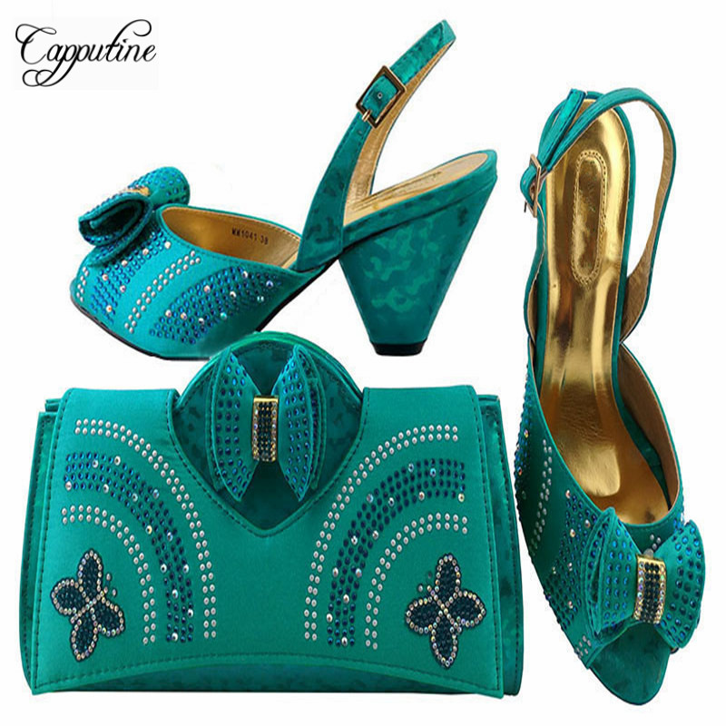Capputine Newest Italy Summer Shoes And Bag To Match Set Fashion Designer High Heels Shoes And Bag Set For Evening Party MM1041 doershow african shoes and bags fashion italian matching shoes and bag set nigerian high heels for wedding dress puw1 19