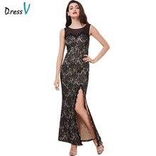 Dressv black sexy split front long evening dress scoop neck sheath ankle length elegant formal party lace women evening dresses