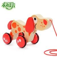 Holz Tiere Krokodil Traktor Kinder Cartoon Welpen Spielzeug Auto Infant fuß hände ziehen spielzeug für kinder hohe qualität