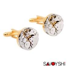SAVOYSHI Brand Jewelry Fashion Classic Steampunk Cufflinks for Mens Shirt Cuff buttons Mechanical Watch Movement Cufflinks Gold