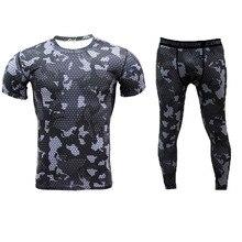 Мужские сжатия рубашка брюки для девочек комплект Бодибилдинг обтягивающие длинные брюки короткие SleeveShirts леггинсы женщин спортивный костюм тренировки фитнес СПО