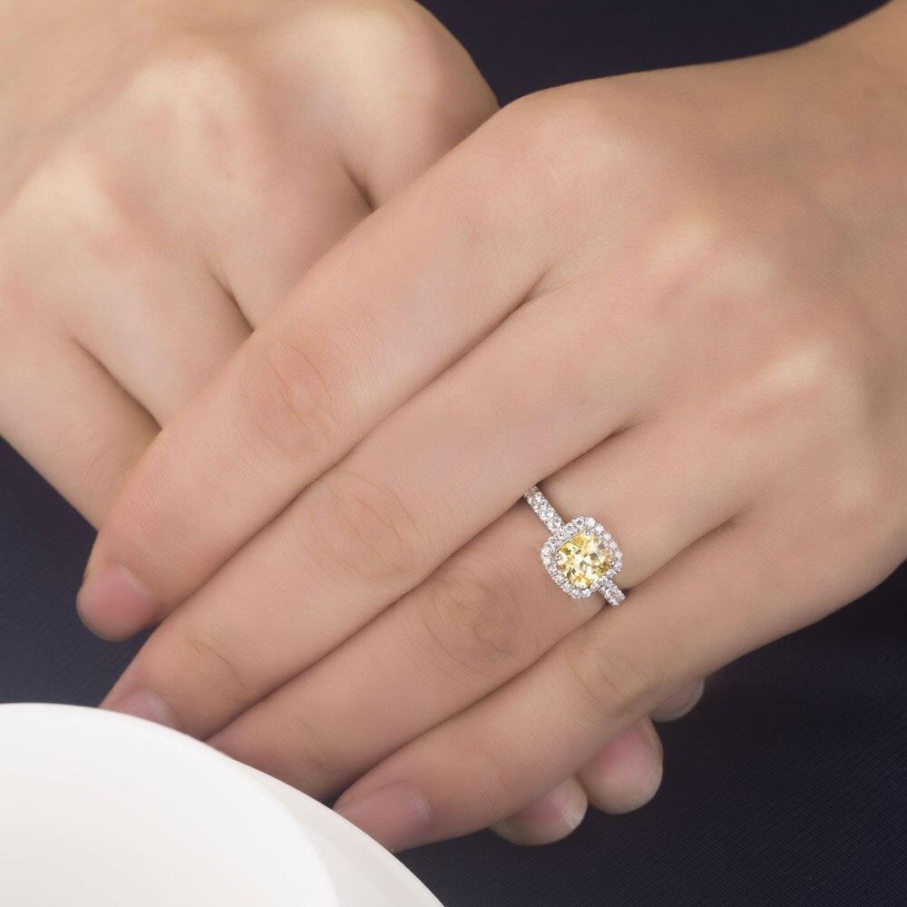 Popular Promise 2ct Yellow Cushion Cut Fabulous Diamond Ring Genuine
