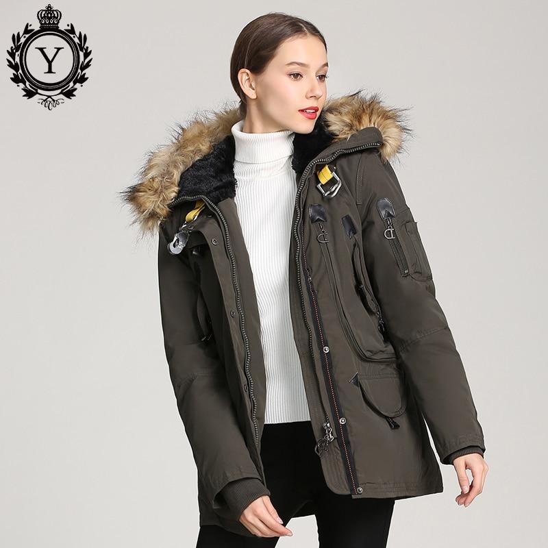 COUTUDI Multi pockets Winter Jacket Women Raccoon Fur Collar Hooded Coat Warm Cotton Padded Female Parka