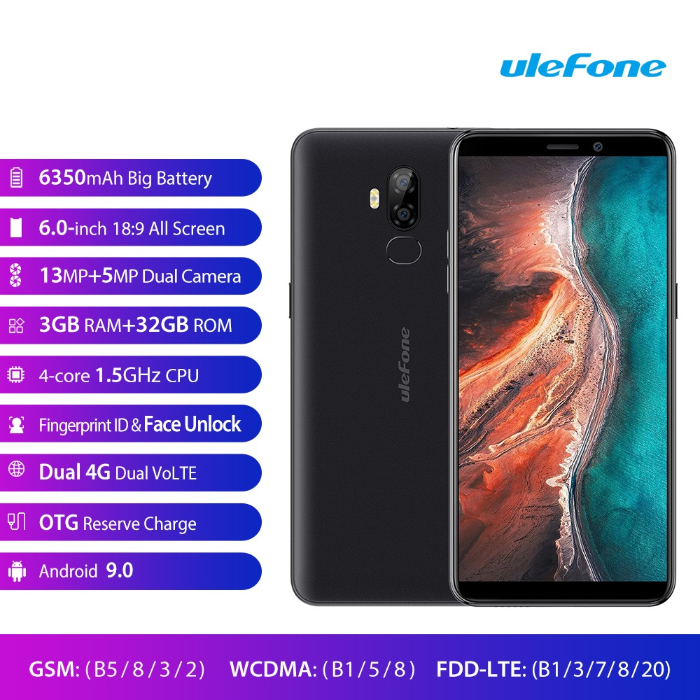 Ulefone P6000 Plus 6 0 Smartphone 6350mAh Android 9 0 3GB 32GB Dual Back Cameras Dual