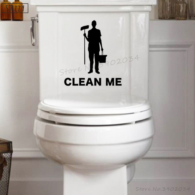 stizzy wall decal bathroom toliet seat sticker quote clean me vinyl