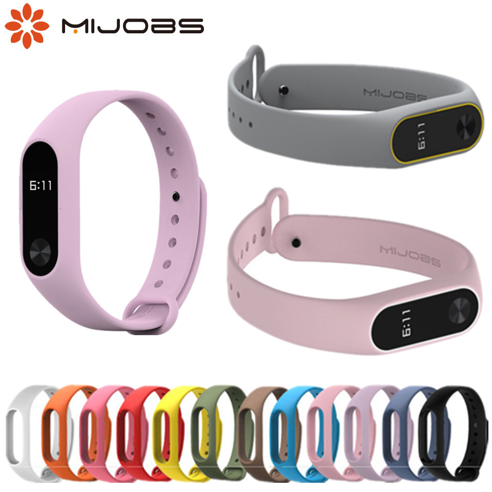 Mijobs Mi Band 2 Strap Silicone Bracelet For Xiaomi Mi Band 2 Bracelet Wristbands Band Wrist Strap For Xiaomi Mi Band 2 Strap