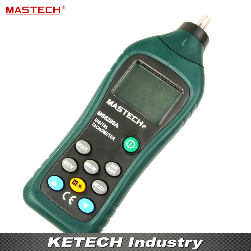 Contact-type Digital Tachometer RPM Meter with Backlit and Rotation Speed of 50-19999RPM MASTECH MS6208A dt 2856 photo touch type tachometer dt2856