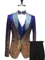 3 предмета в комплекте блестящие блесток мужской костюм Slim Fit одна кнопка Пик Нотч смокинг для вечеринка, свадебный банкет блейзер для ночно