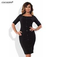 2017 Plus Size 6XL New Women Fashion Elegant Button Decoration Dress Office Dress Casual Large Size