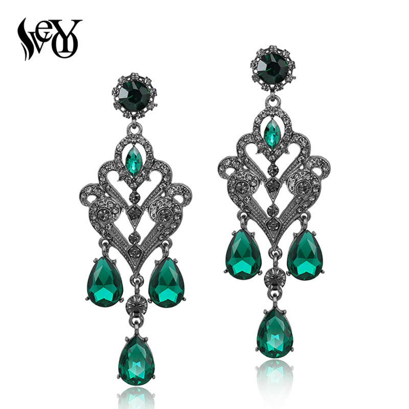 VEYO Vintage Kristal Earrings Wanita Klasik Berlian Imitasi Drop Earrings Fashion Jewelry Hadiah