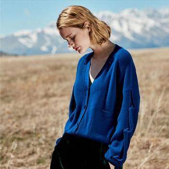 цена на 100%Cashmere Sweaters Women Cargigan Navy Blue Sweater V-neck Natural Fabric Extra Soft Warm High Quality Free Shipping