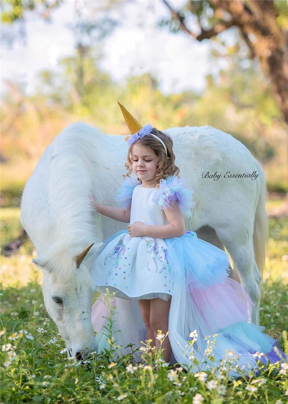 HTB1UUUQb3KG3KVjSZFLq6yMvXXa1 Christmas Fluffy Girl Princess Unicorn Dress Gorgeous Backless Long Tail Wedding Dress Kids  Halloween Unicorn Cosplay Costume
