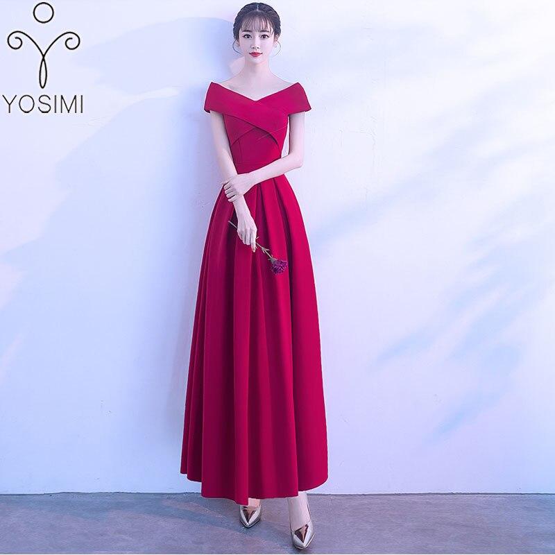 a6a360668c2 2019 Yosimi Longue rouge Noir De A Slim Robes D été cou Rouge Hors L épaule  Felmale V Femmes Élégant ligne Soirée Tenue Maxi Fête 5q34SLAjcR