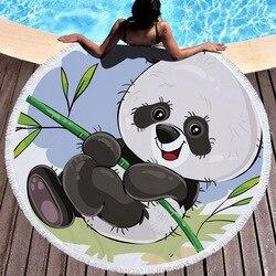 Summer Circle Thick Microfiber Round Beach Towel Shower Bath Towels Cartoon Panda Print Bohemian Cute serviette de plage ronde
