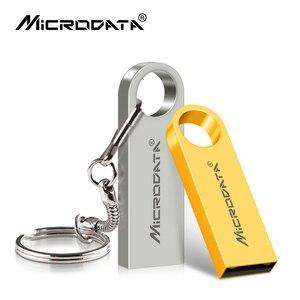 Image 1 - Pendrive de unidad Flash USB de Metal en 4 colores, 128GB, 64GB, 32GB, 16GB y 8GB, con memoria y llavero, impresión personalizada