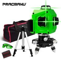 PRACMANU Laser Level Green 12 Lines 3D Level Self Leveling 360 Horizontal And Vertical Cross Super Powerful Green Laser Level