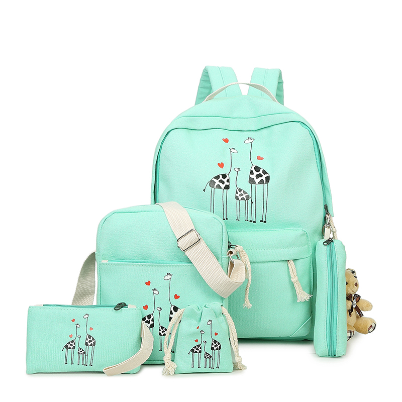 2018 5Pcs/Sets Backpacks Cartoon Printing School Girls Backpack Cute Canvas Schoolbags for Teenage Women Students Bag Y242 cute cartoon women bag flower animals printing oxford storage bags kawaii lunch bag for girls food bag school lunch box z0