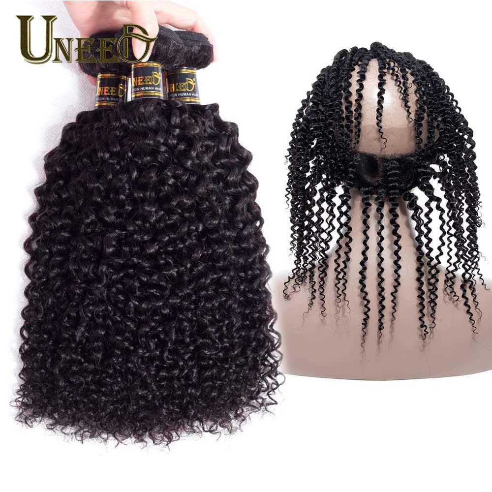 Uneed Kinky Curly Wave Brazilian Hair Weave 3Bundles With 360 Frontal Closure 100% Human Hair Bundles 4Pcs/Lot With 360 Frontal
