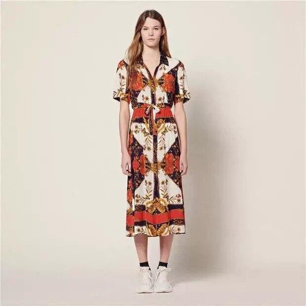 women dress Vintage Print Bohemian Long Waist Short Sleeve Dress