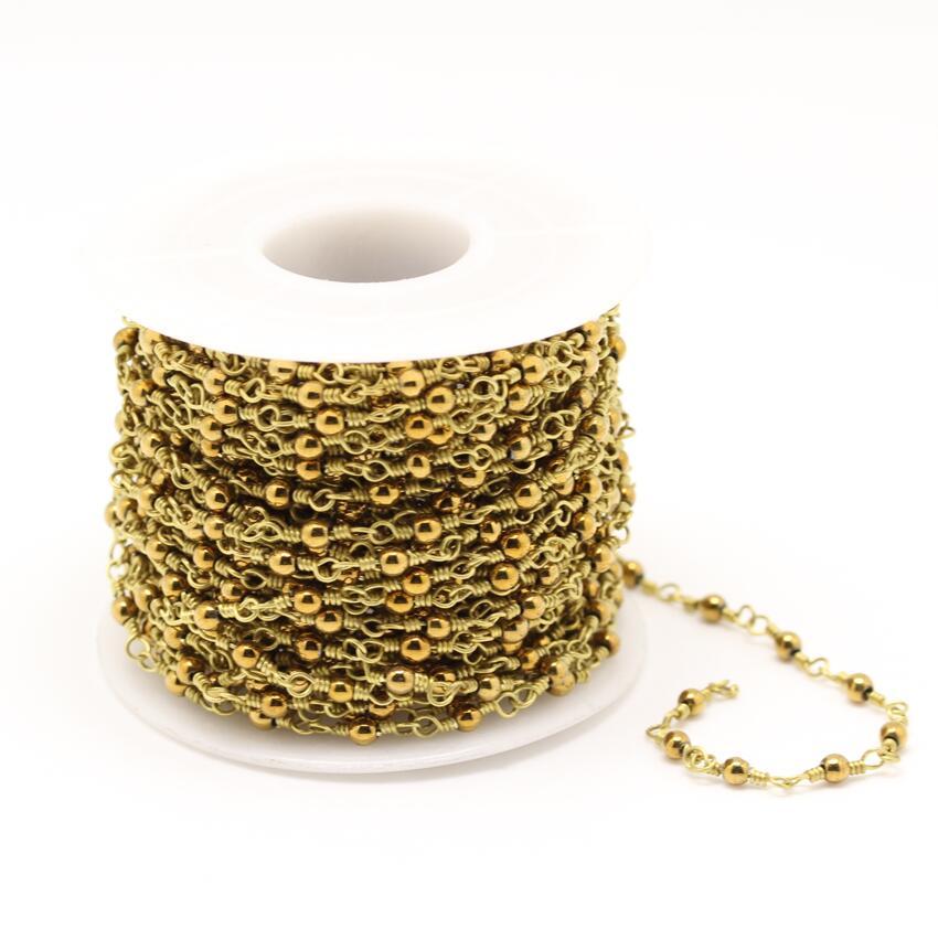 Chaînes de perles de Pyrite en fer plaqué or, chapelet en laiton enveloppé de fil, fabrication de collier de Bracelet, 3mm