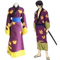 Cosplay pour Takasugi Shinsuke Imprimé Kimono Geta Gin Tama et Perruque Adulte Costume Japon Anime Populaires dans le Carnaval Halloween Party