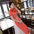 High Quality 2017 New Women Long Cheongsam Qipao Chinese Traditional Clothing Wedding Dress High Split Qi Pao Summer Dresses
